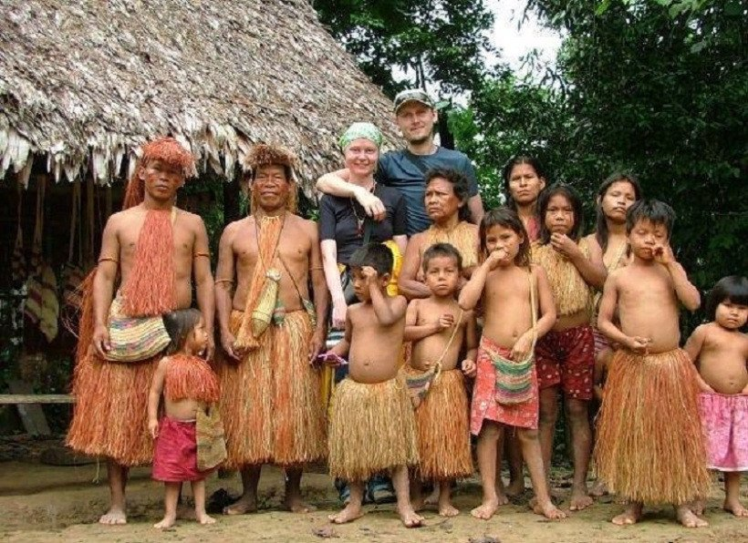 2 americans with piraha tribe of Brazil