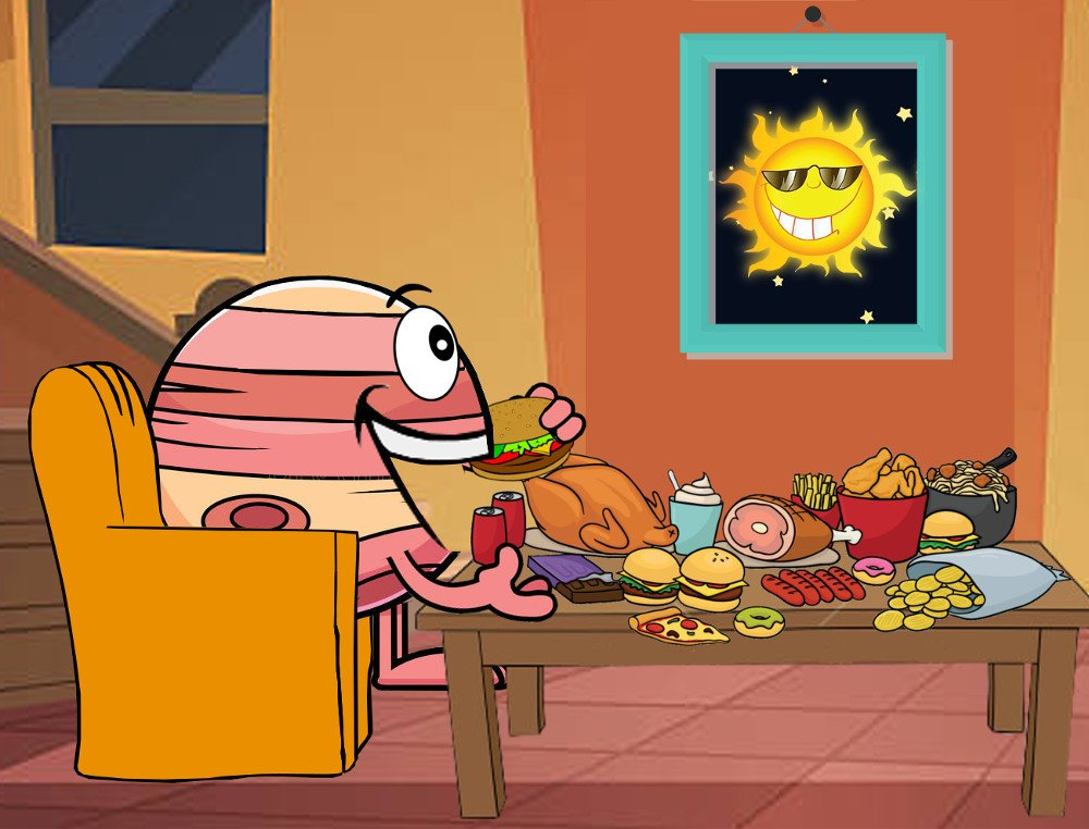 Jupiter cartoon eating chips looking at sun as inspiration
