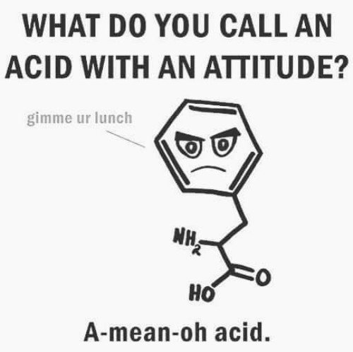What do ou call an acid with an attitude a mean oh acid monday morning puns meme