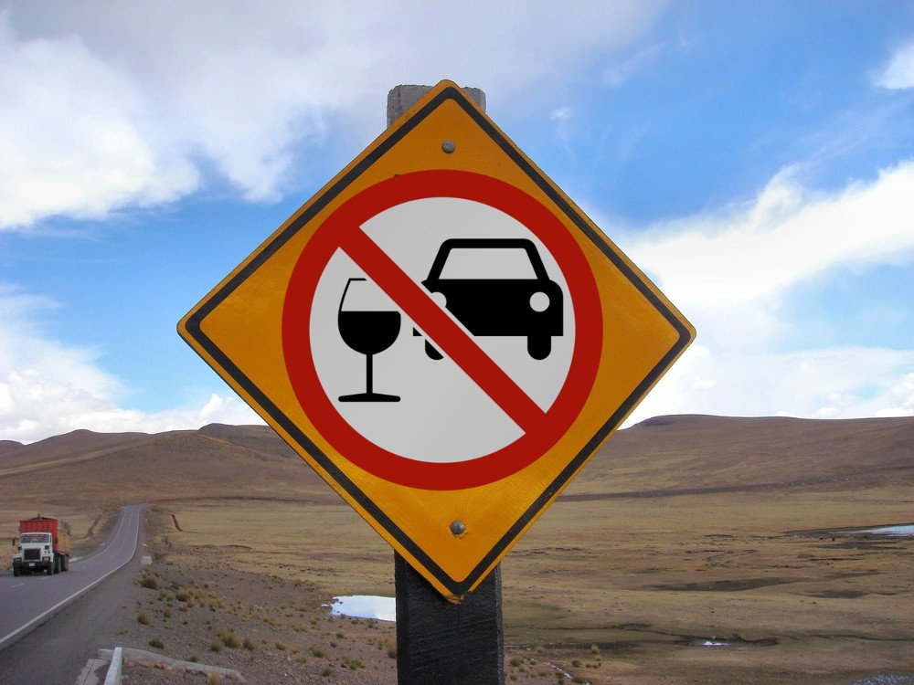 Do not drink & drive sign board on highway
