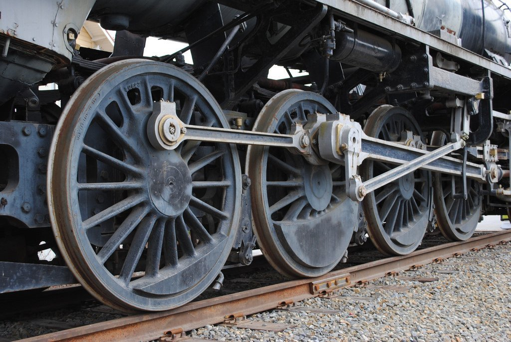 Train wheel close up