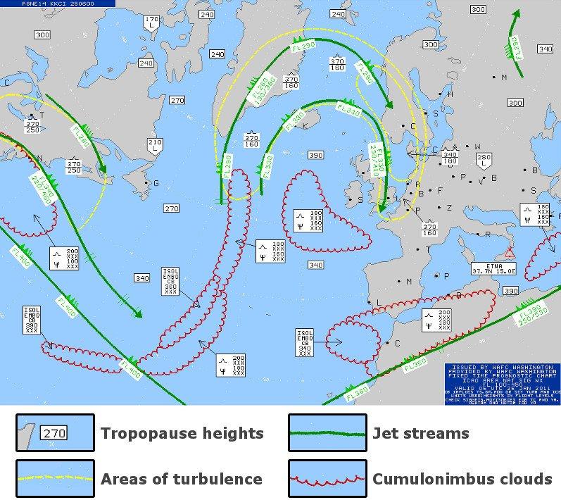 Aviation weather forecast chart.
