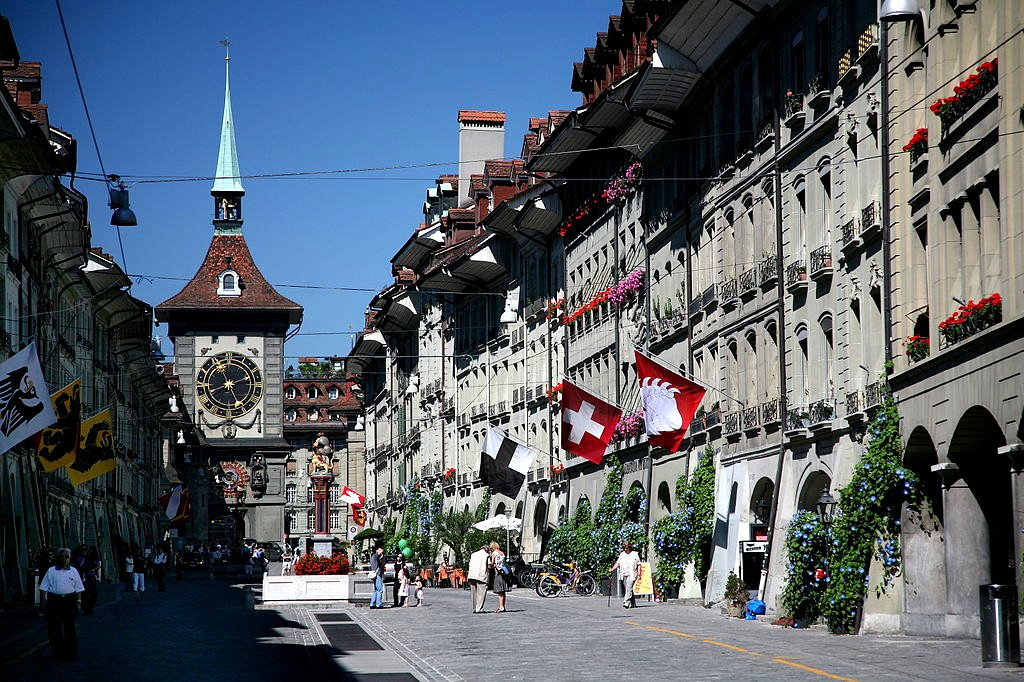 Kramgasse (grocer's lane) with Zytglogge clock tower, Berne, Switzerland.