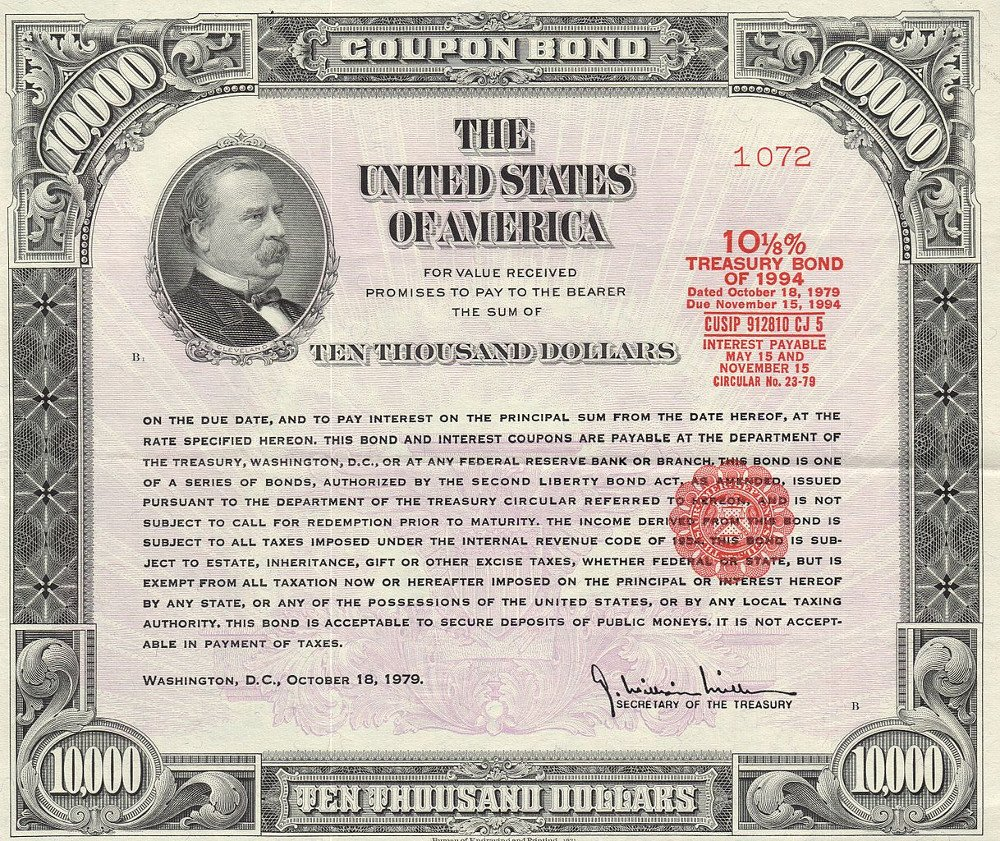1979 $10,000 Treasury Bond