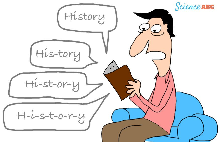 Cartoon man reading history