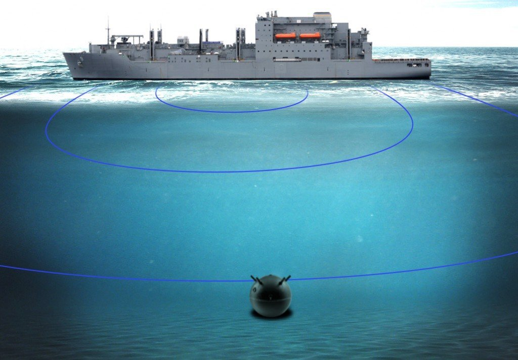 Naval mine attracting the US warship
