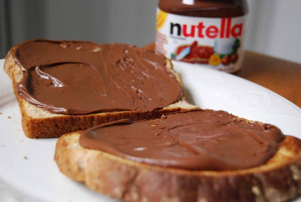 Nutella chocolate on bread