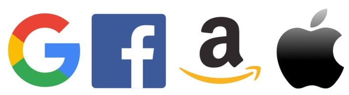 The four google facebook amazon apple logo's
