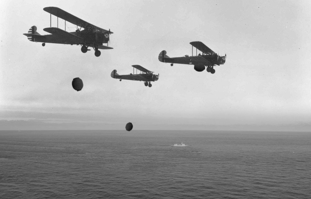 Ww2 aircraft dropping naval mine