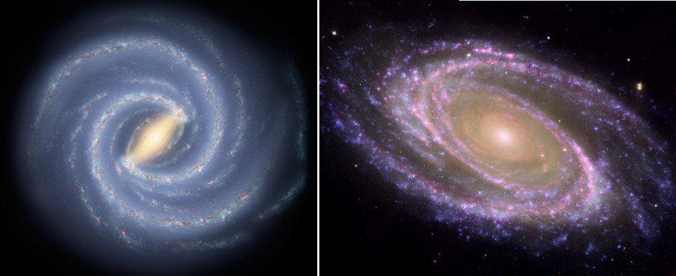 Milky Way galaxy vs Messier 81 galaxy