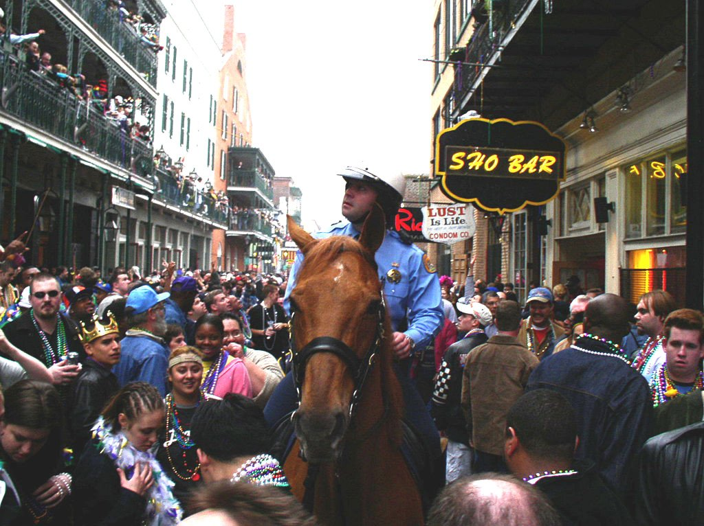 Mounted Police on Bourbon Street Mardi Gras 2003