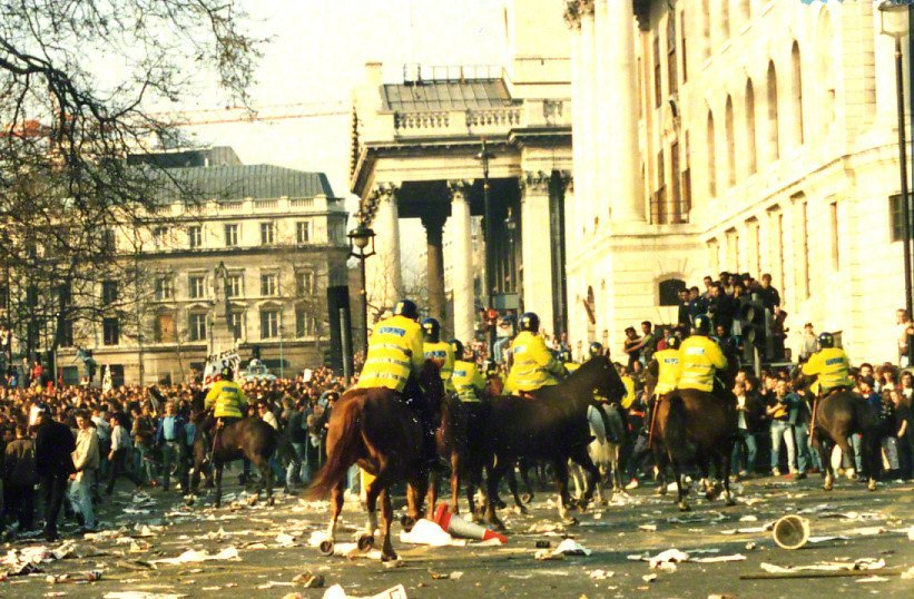 Poll Tax Riot 31st Mar 1990 Trafalger Square - Horse Charge