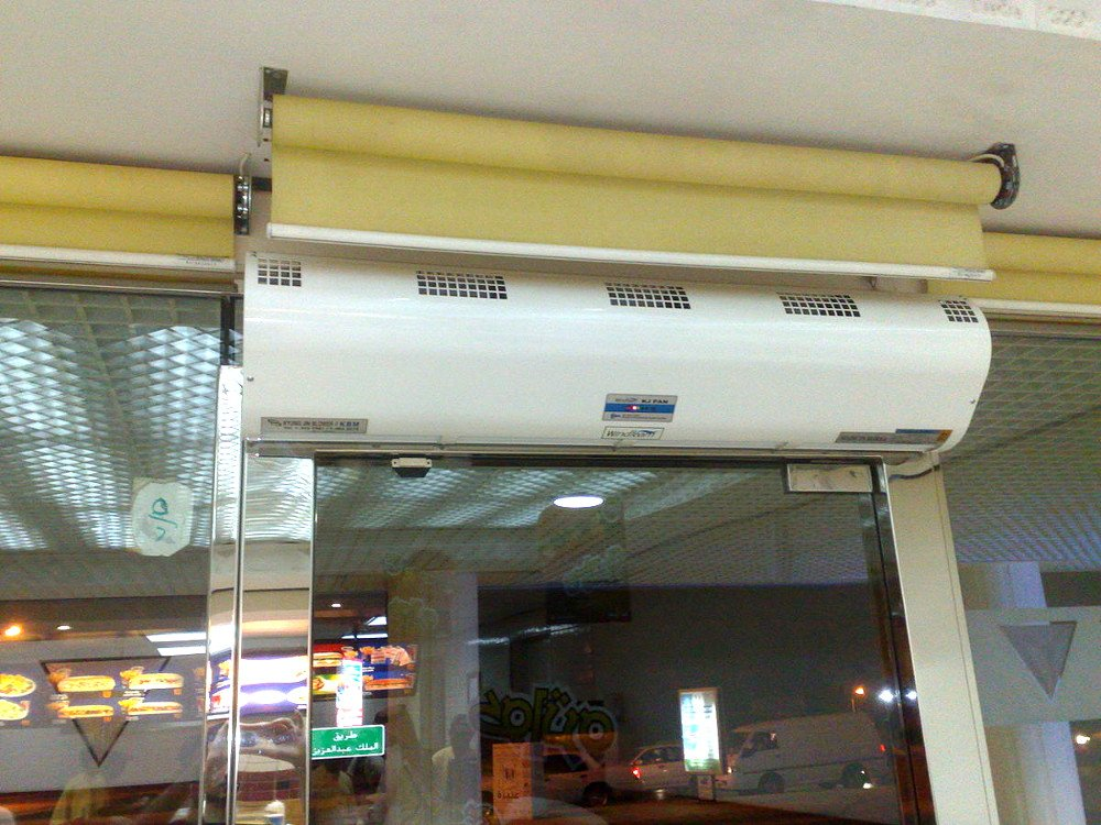 This air curtain is used to separate inside and outside air without blocking an open doorway