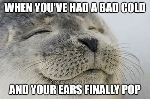 When you've had a bad cold and your ears finally pop meme