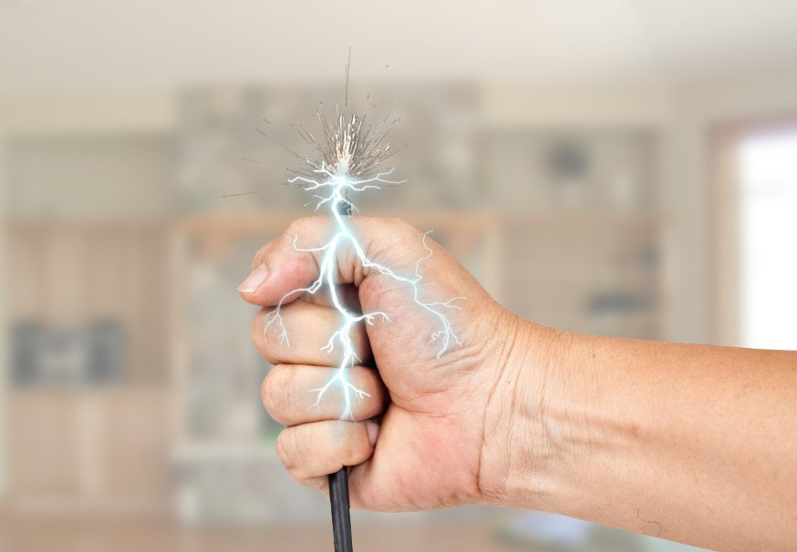 Shock live wire in human hand