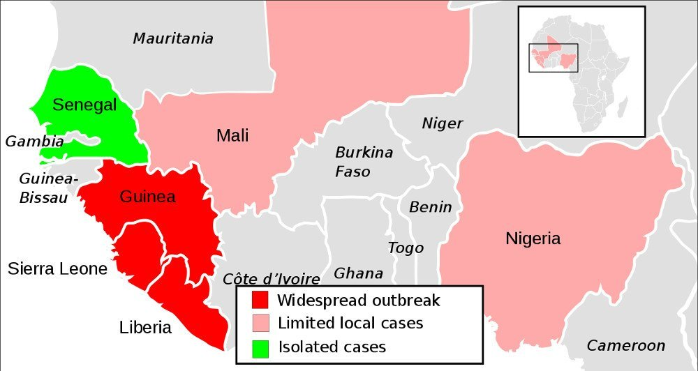 Simplified 2014 ebola virus epidemic situation map, simplified