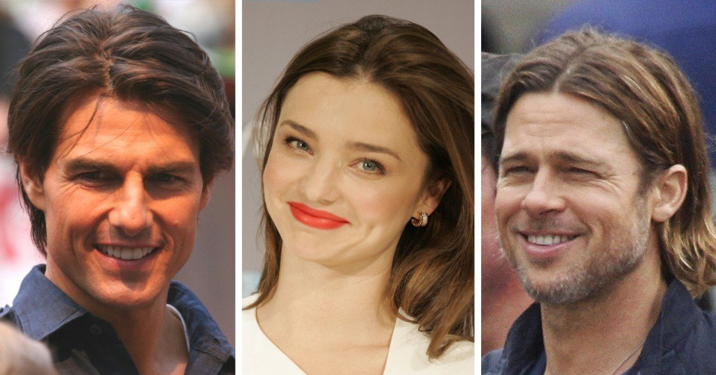 Tom Cruise, Miranda Kerr, Brad Pitt dimple