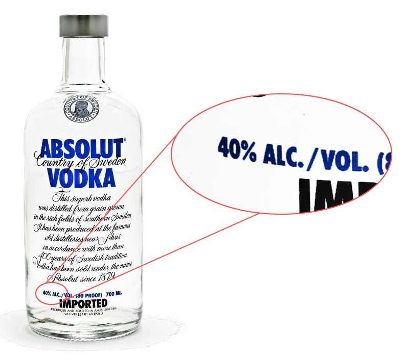 vodka ethanol content label