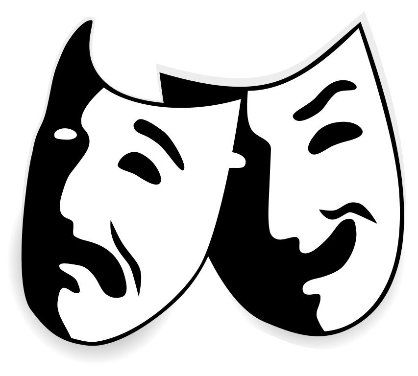 Comedy and tragedy masks without background