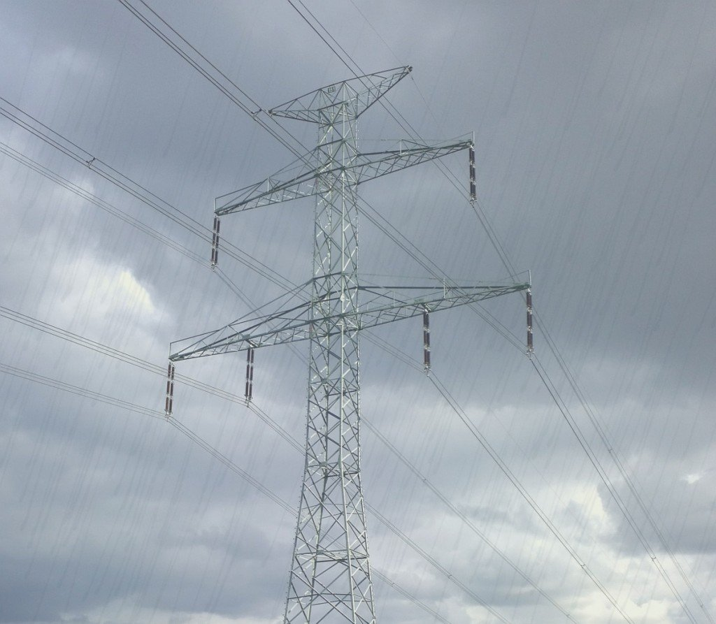 Power transmission tower in rainy season