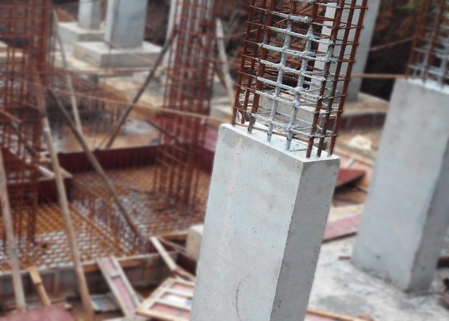 Steel rods inside concrete