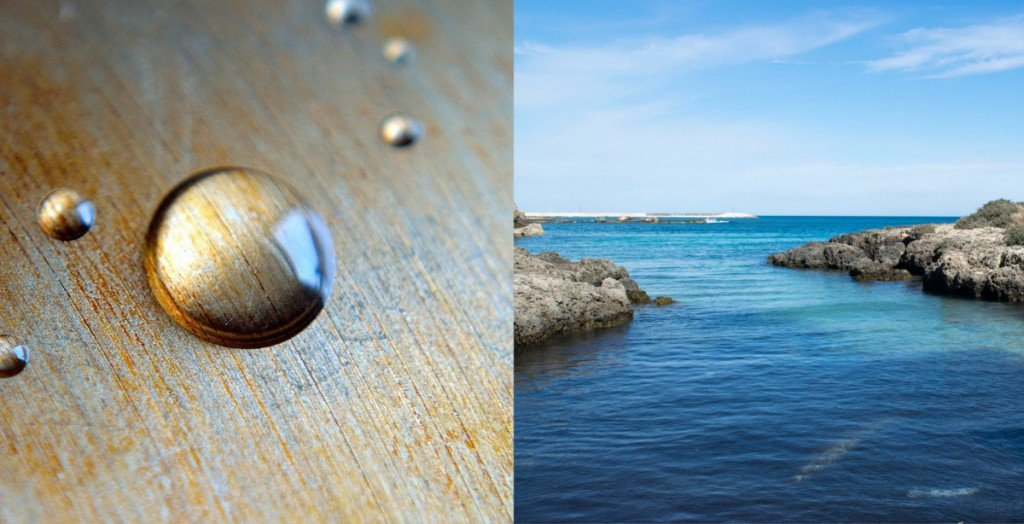 a colorless water drop & a blue ocean