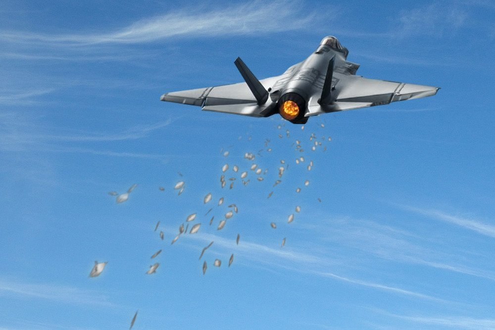 fighter plane deploying chaff