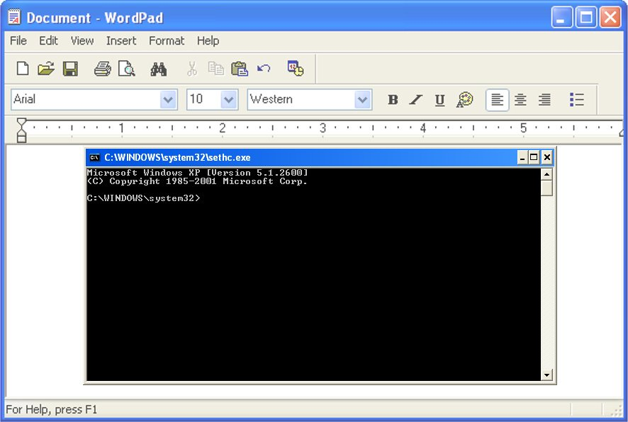 windows xp and command prompt screenshot
