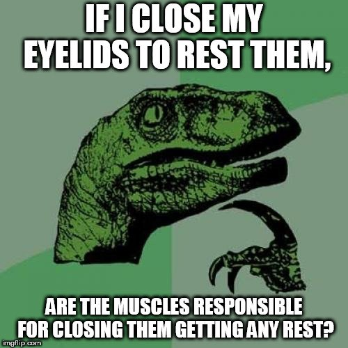 IF I CLOSE MY EYELIDS TO REST THEM, ARE THE MUSCLES RESPONSIBLE FOR CLOSING THEM GETTING ANY REST meme