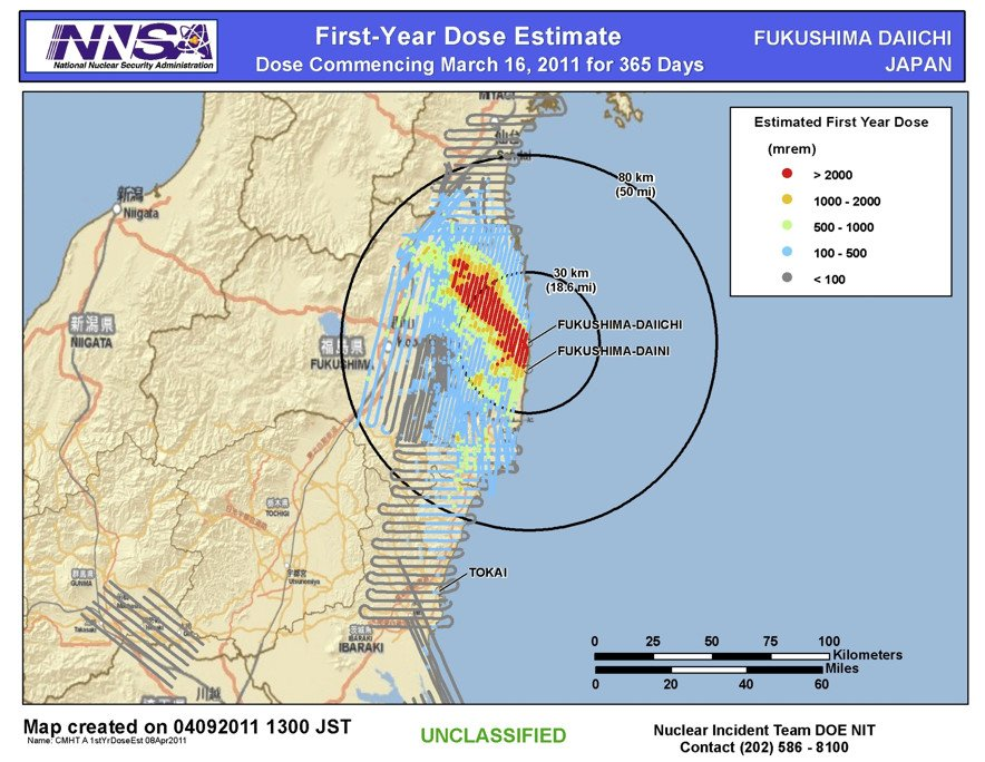 NNSA DOE Dose Map Fukushima