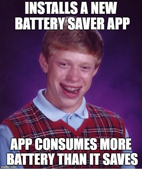 INSTALLS A NEW BATTERY SAVER APP meme