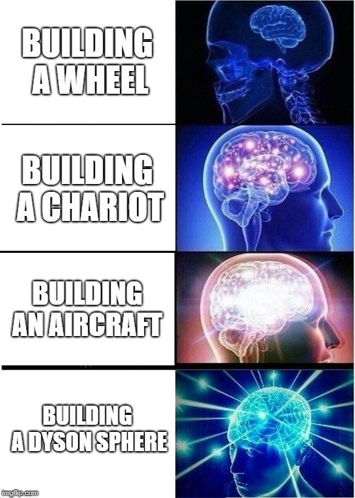 BUILDING A WHEEL; BUILDING A CHARIOT; BUILDING AN AIRCRAFT; BUILDING A DYSON SPHERE