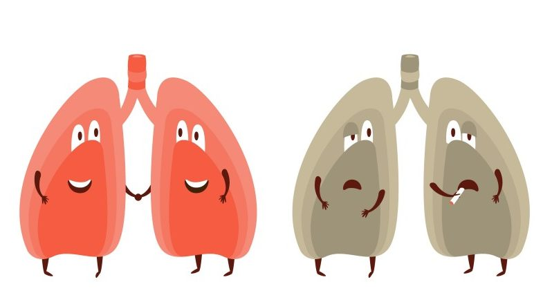 Healthy vs Unhealthy Lungs Infographic Illustration(Blue Flourishes)s