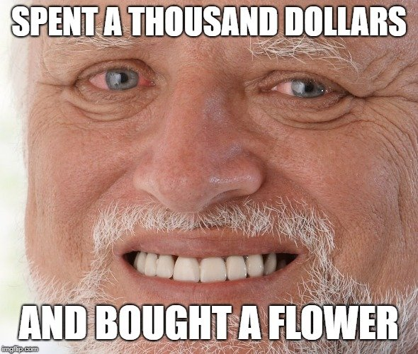 SPENT A THOUSAND DOLLARS; AND BOUGHT A FLOWER meme