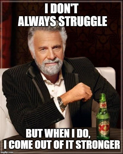 I DON'T ALWAYS STRUGGLE; BUT WHEN I DO, I COME OUT OF IT STRONGER meme