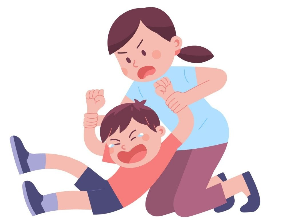 Illustration of mother trying to calm down her son who is throwing tantrums(pizzastereo)s