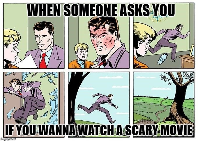 WHEN SOMEONE ASKS YOU; IF YOU WANNA WATCH A SCARY MOVIE meme