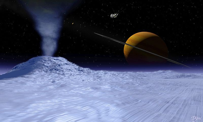 Saturn seen from Enceladus