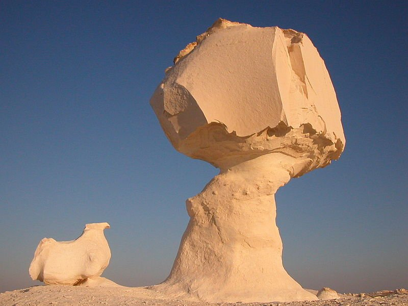 Ventifacts in the White Desert National Park in Egypt