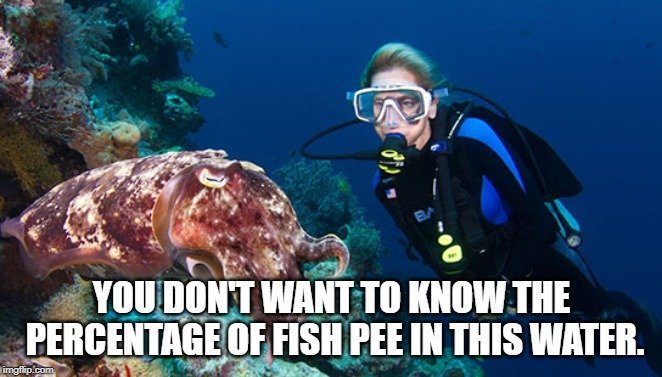 You don't want to know the percentage of fish pee in this water meme