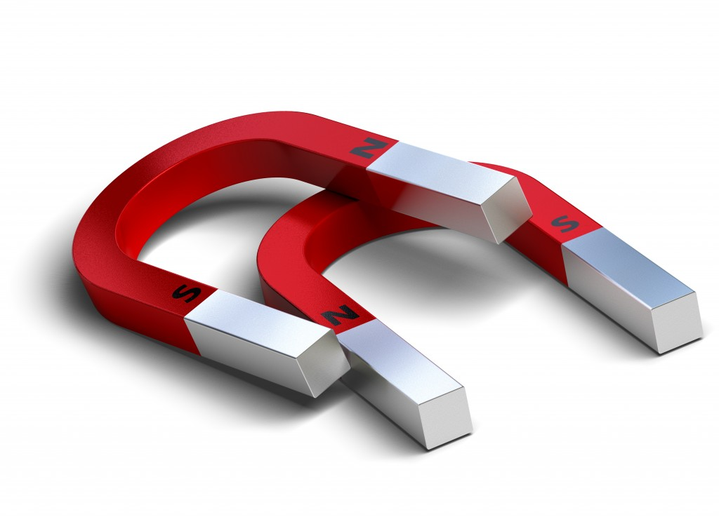 2 red horseshoe magnets over a white background with N for north and S for south written on it - Illustration( Olivier Le Moal)s