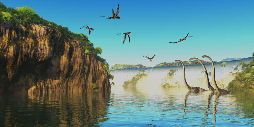 Dimorphodon and Omeisaurus Dinosaurs - Omeisaurus herbivorous sauropod dinosaurs wade through a river below a waterfall as Dimorphodon flying reptiles fly overhead. - Illustration(Catmando)s