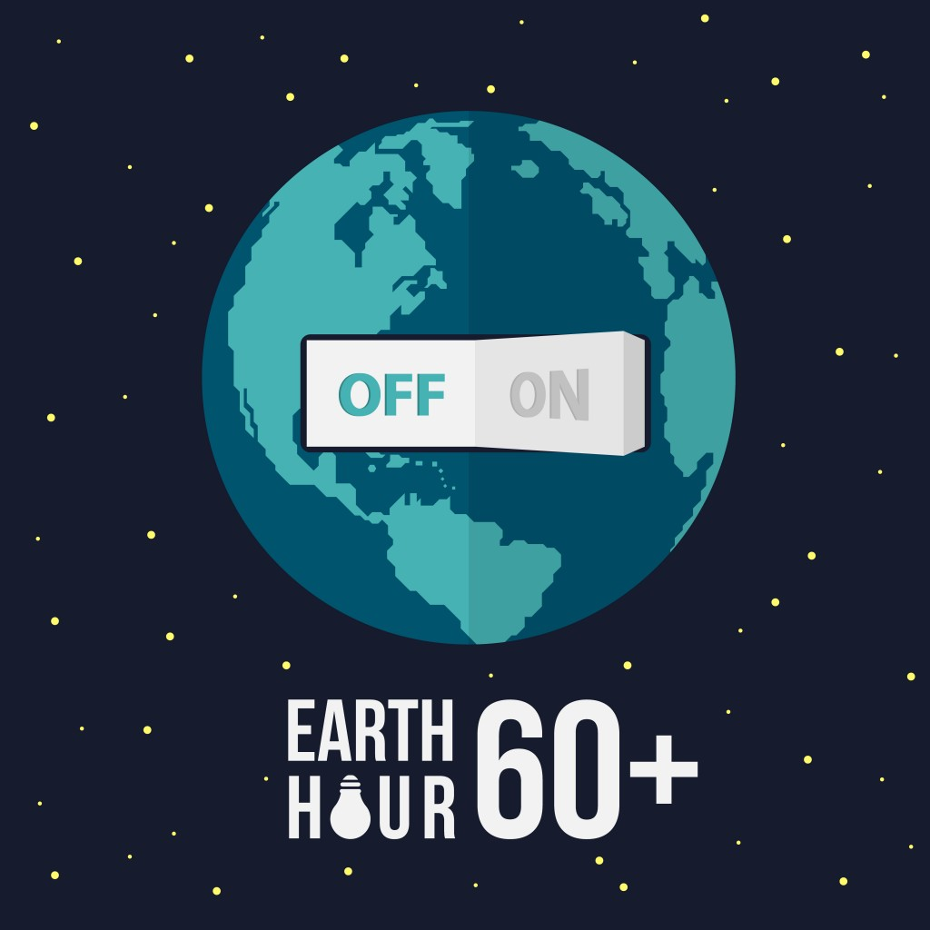Earth hour with switch turn off on and stat vector design - Vector(ananaline)s