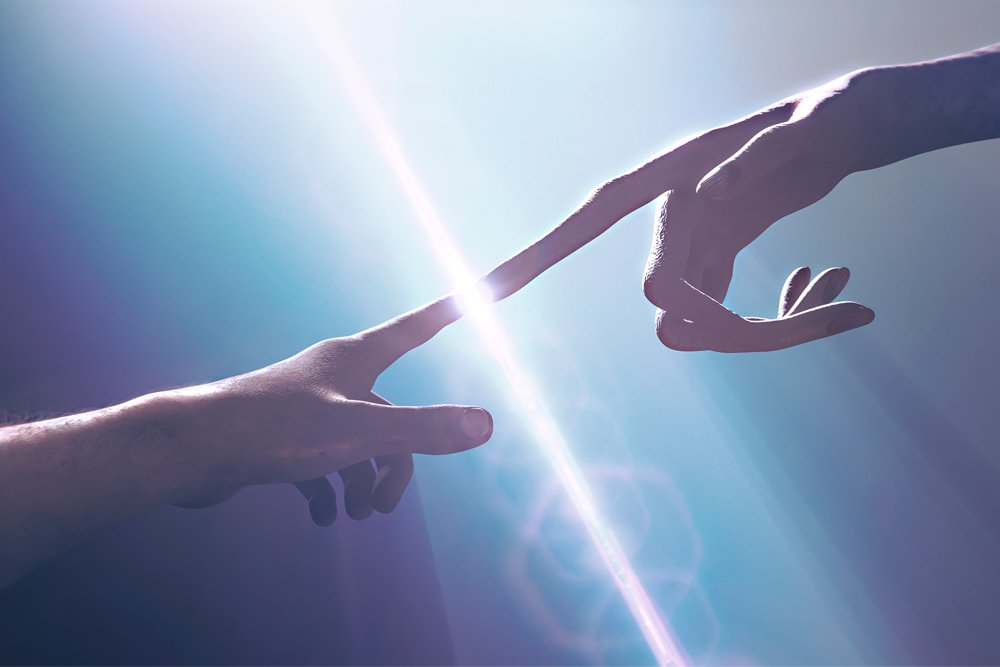 Extraterrestrial hand contact human hand - alien first contact - artistic representation - 3d rendering - Illustration(DanieleGay)s