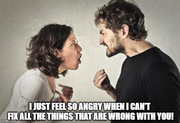 I just feel so angry when I can't fix all the things that are wrong with you meme