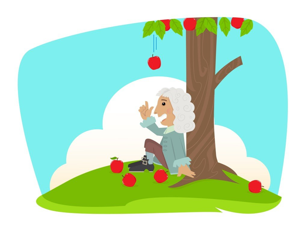 Isaac Newton Cute Isaac Newton is sitting under an apple tree Eps10 Vector ( bilha golan) s