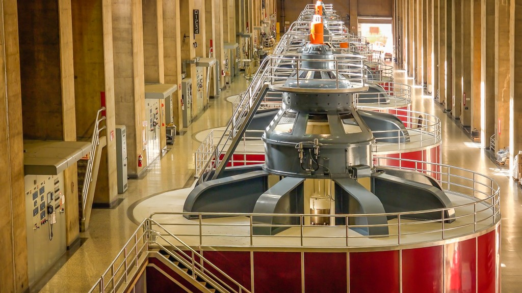 Large turbines spin to create electricity in the powerplant at Hoover Dam - Image( CrackerClips Stock Media)s