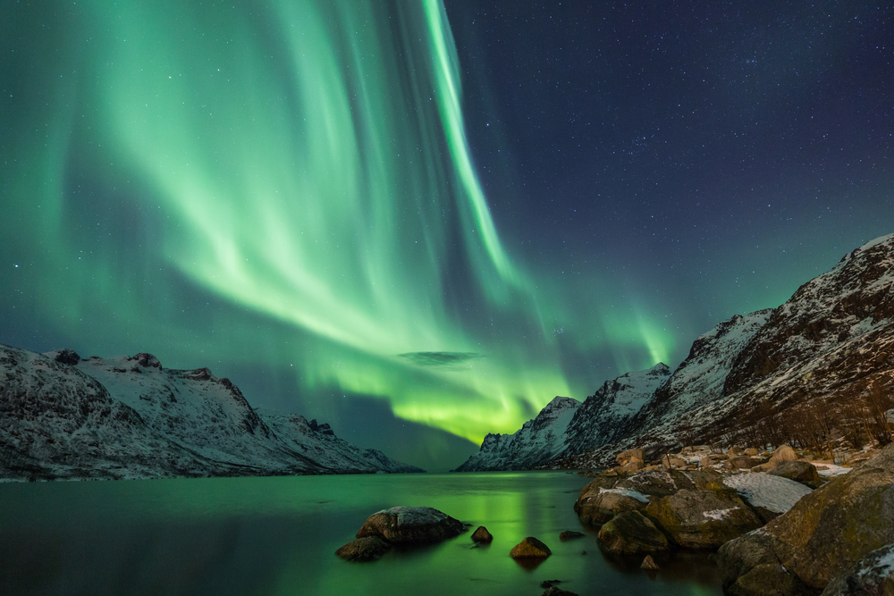 Northern Lights above waters edge - Image( Jamen Percy)S