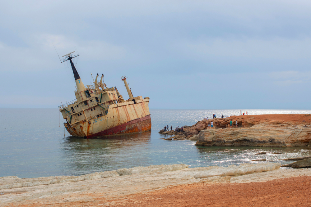 Paphos, Cyprus - May 2019 Abandoned ship Edro III near Cyprus beach - Image(KlavdiyaV)S