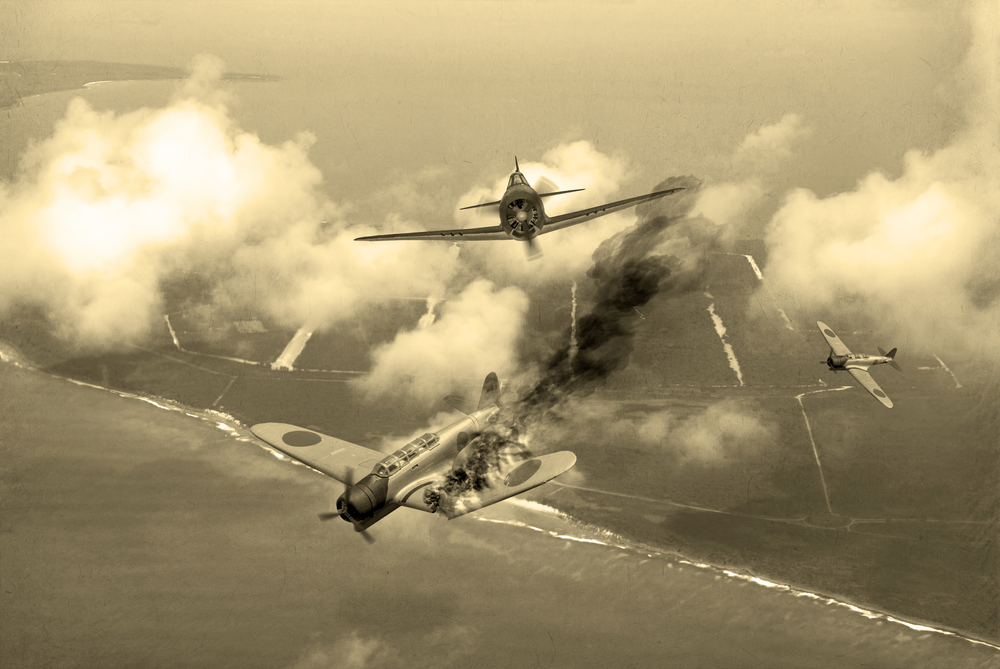 'Vintage Style' image of a World War 2 US fighter plane shooting down Japanese torpedo bomber over Saipan. (Artists Impression) - Illustration( Keith Tarrier)s